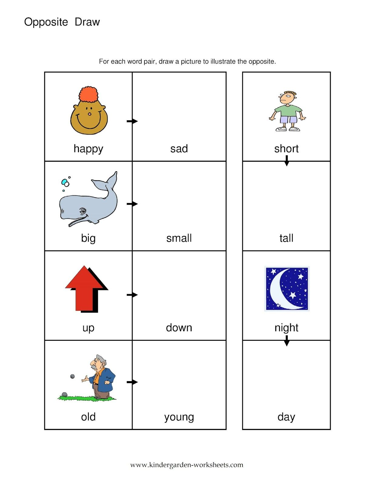 Opposites Preschool Worksheets