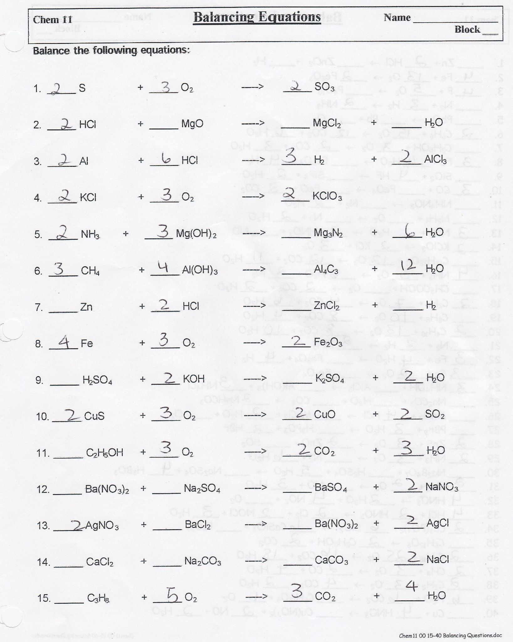 Writing Skeleton Equations Worksheet Answers