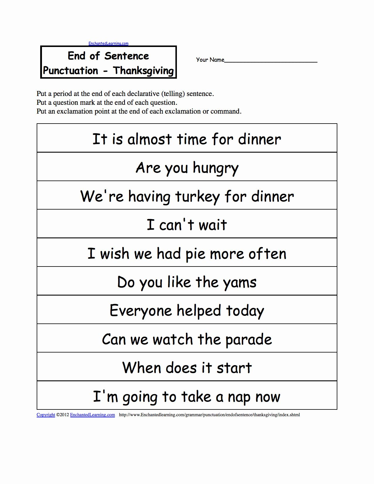 Paragraph Punctuation Worksheet