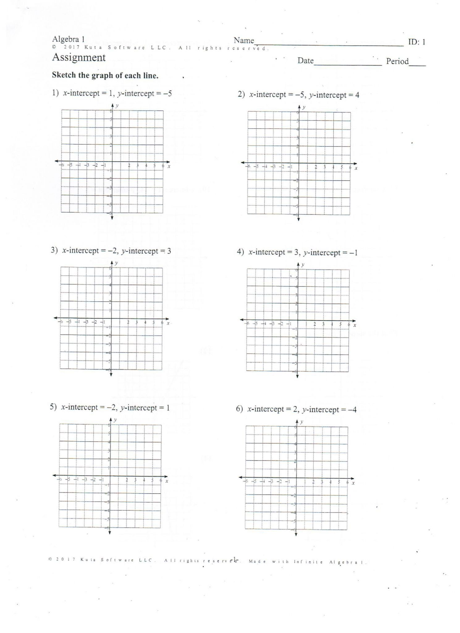 Algebra 1 Point Slope Form Worksheet Answers