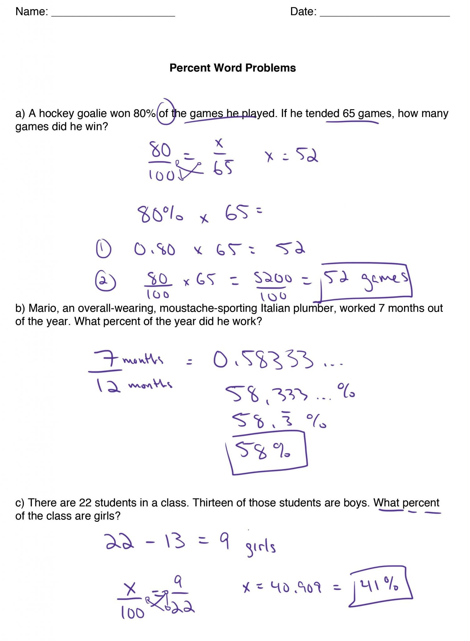 Percent Worksheet For 7th Grade