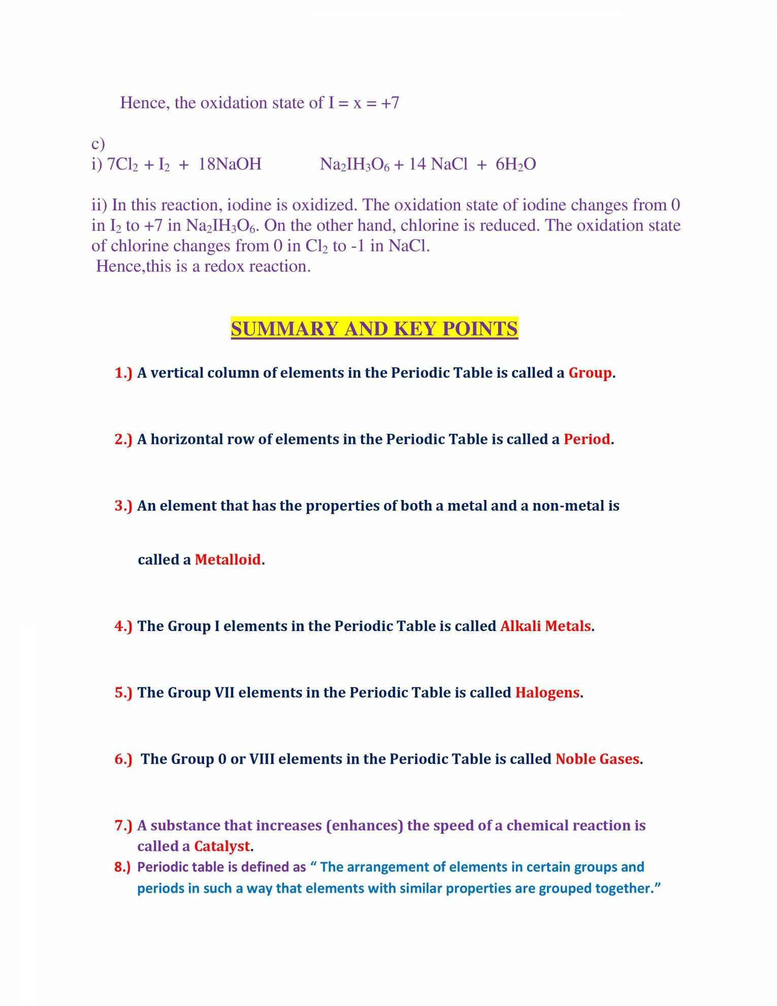Periodic Table Worksheet Chemistry