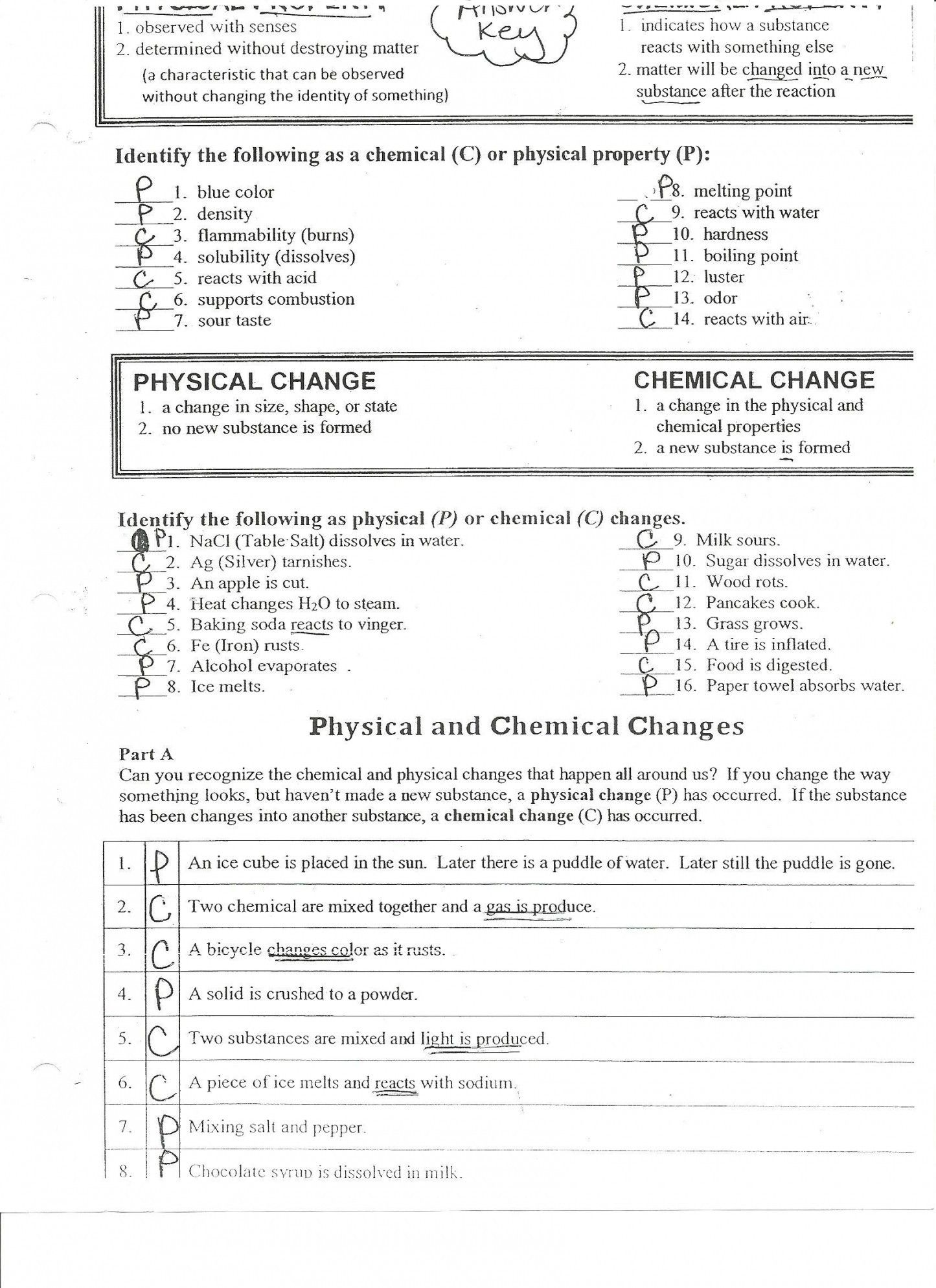 Physical Vs Chemical Properties Worksheet Answers