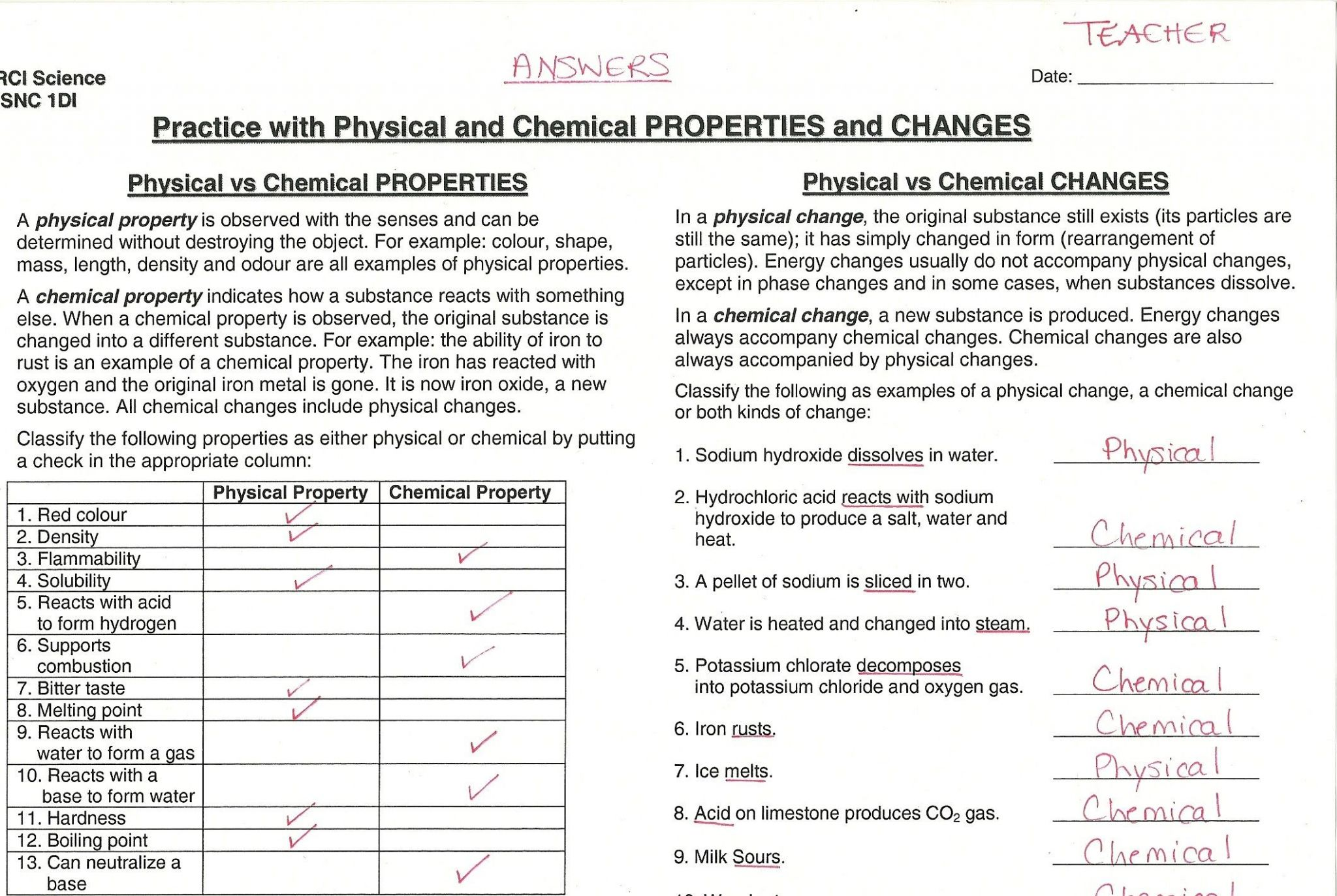 Chemical Vs Physical Properties Worksheet