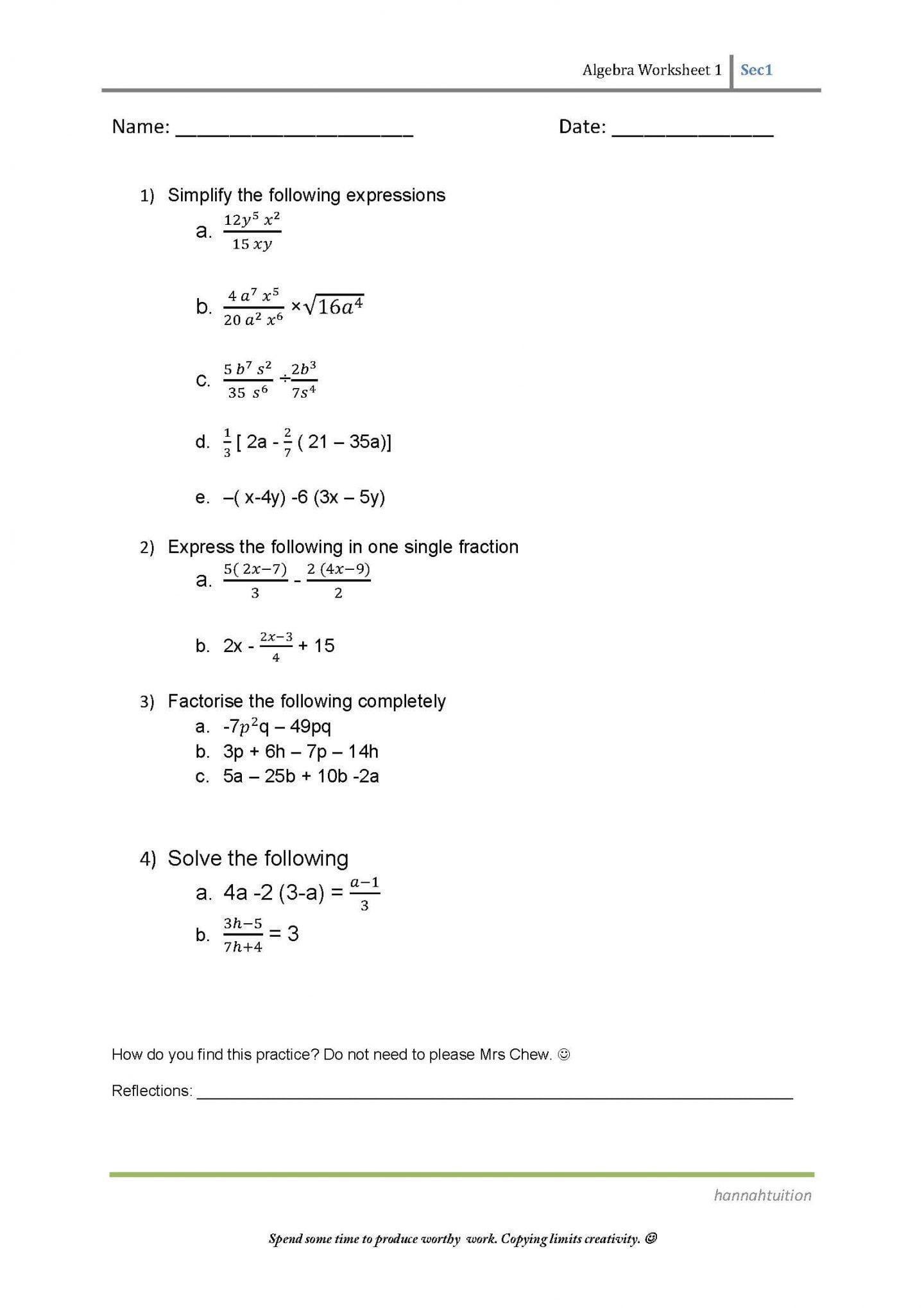 Pre Algebra Worksheets For 8th Graders