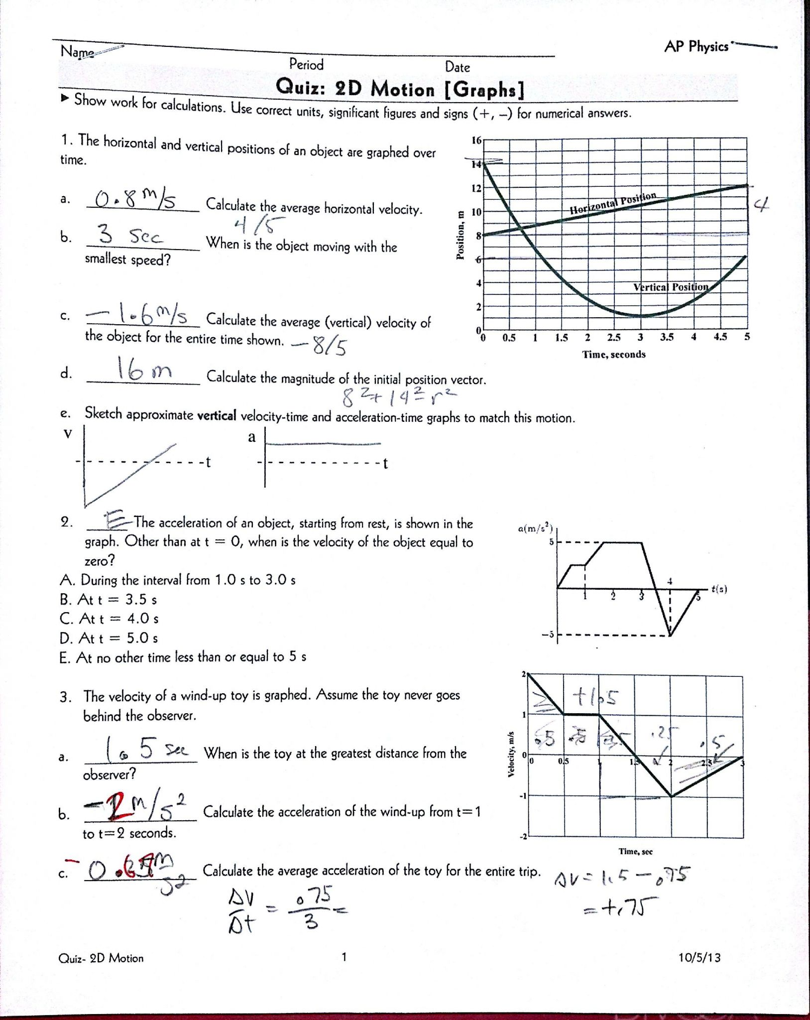Physics Projectile Motion Worksheet