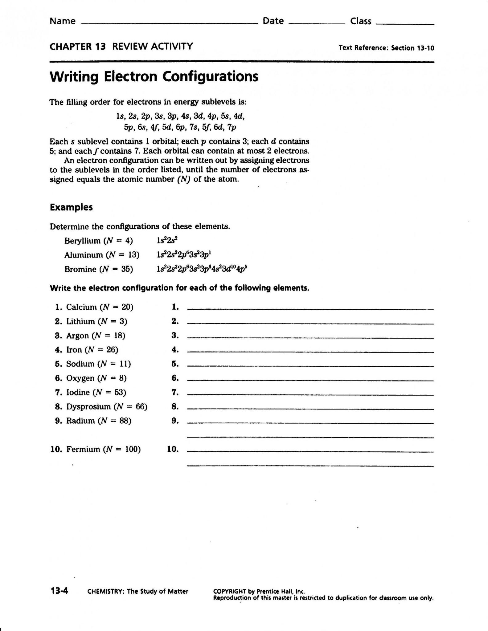 Electron Configuration Worksheet Gcse