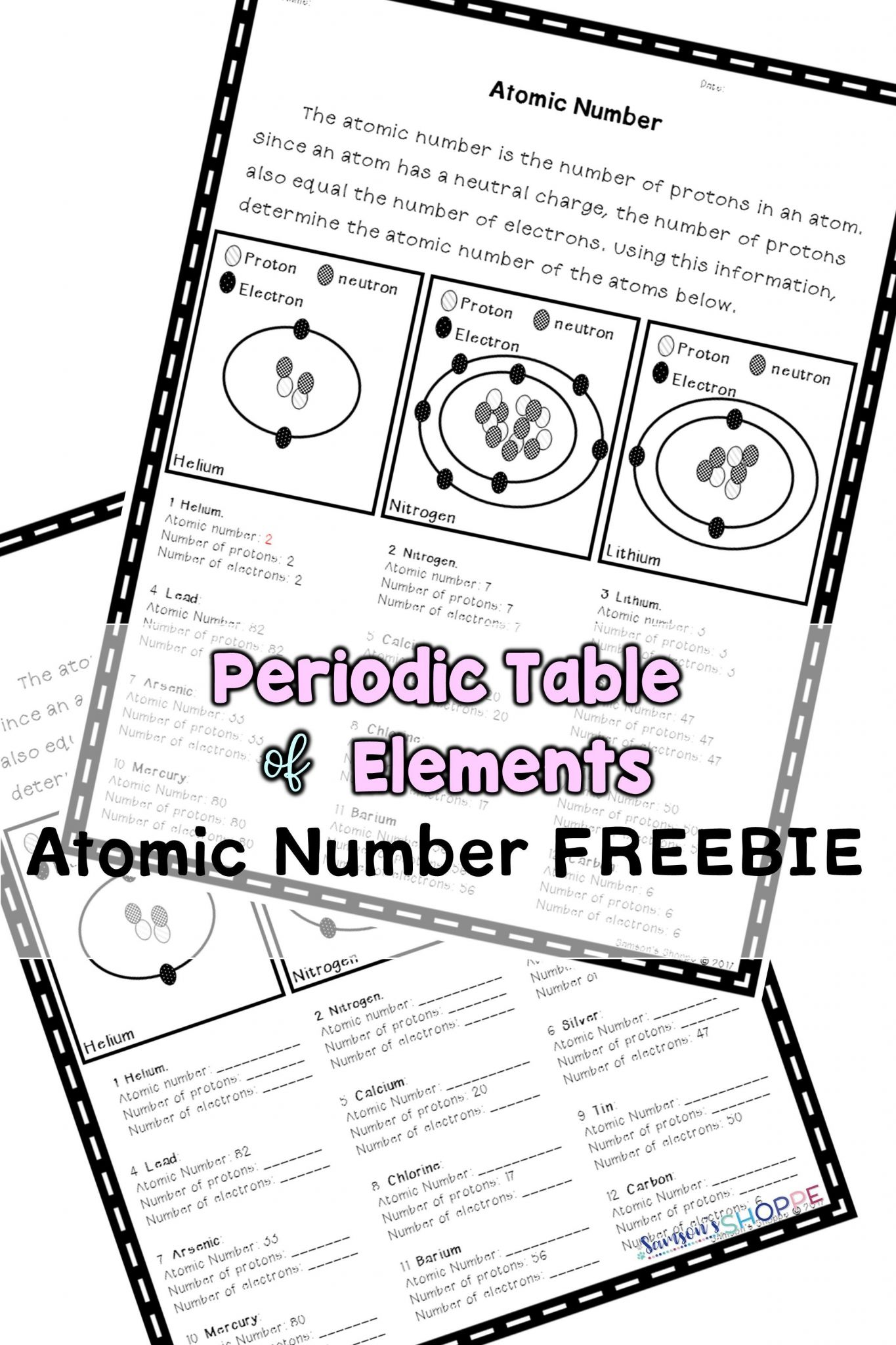Protons Neutrons Electrons Atomic And Mass Worksheet
