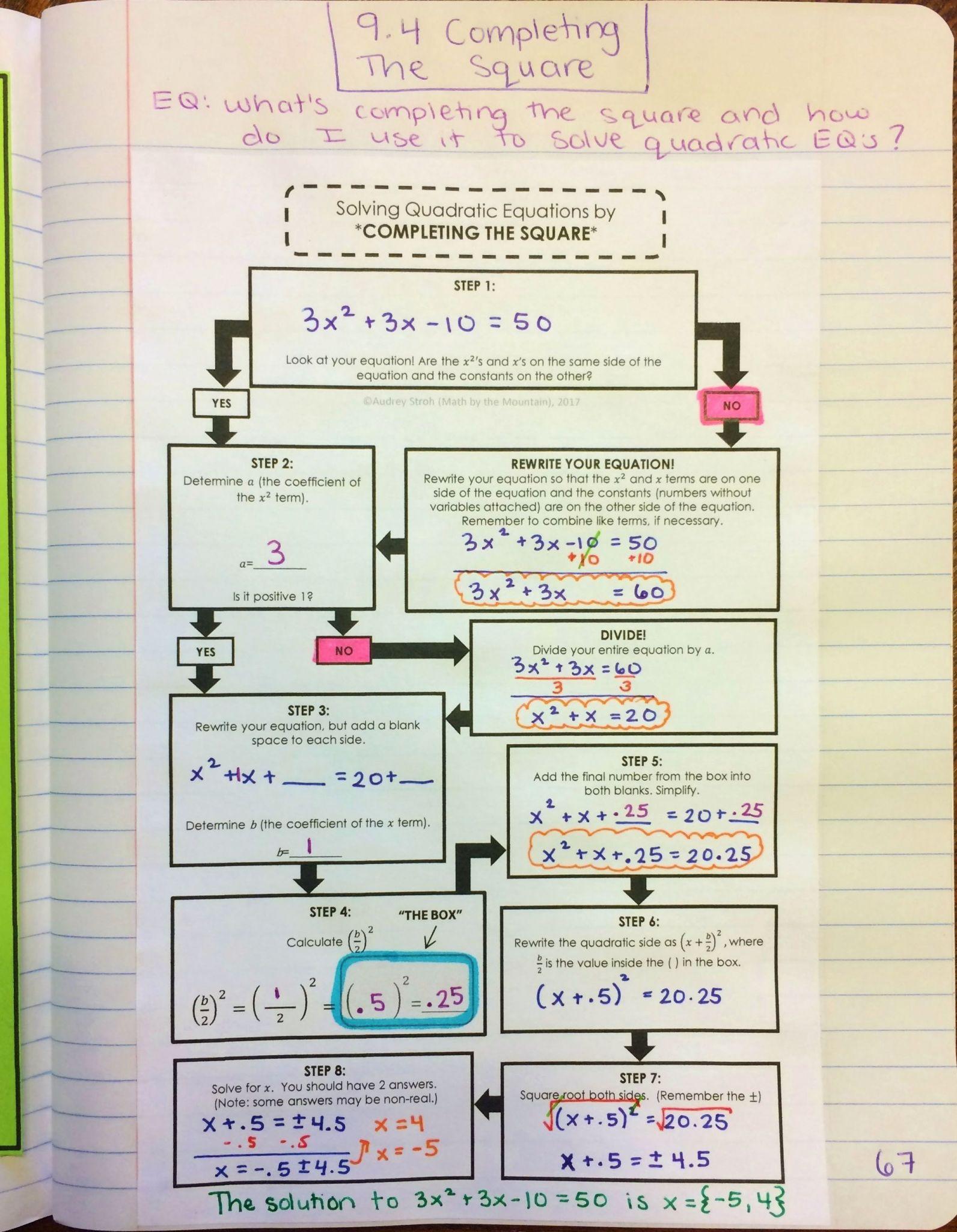 Quadratic Inequalities Worksheet
