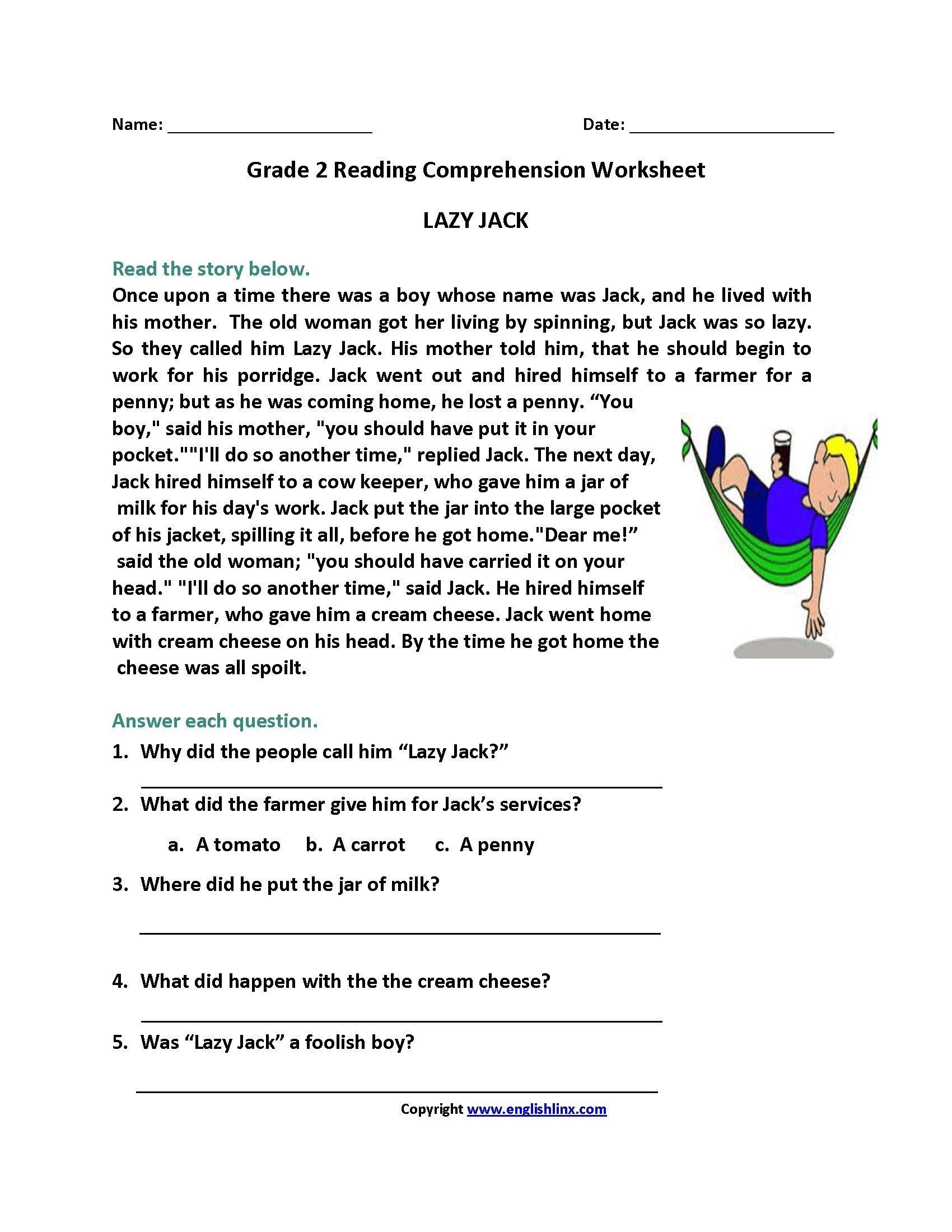 Reading Comprehension Worksheets For 2nd Grade