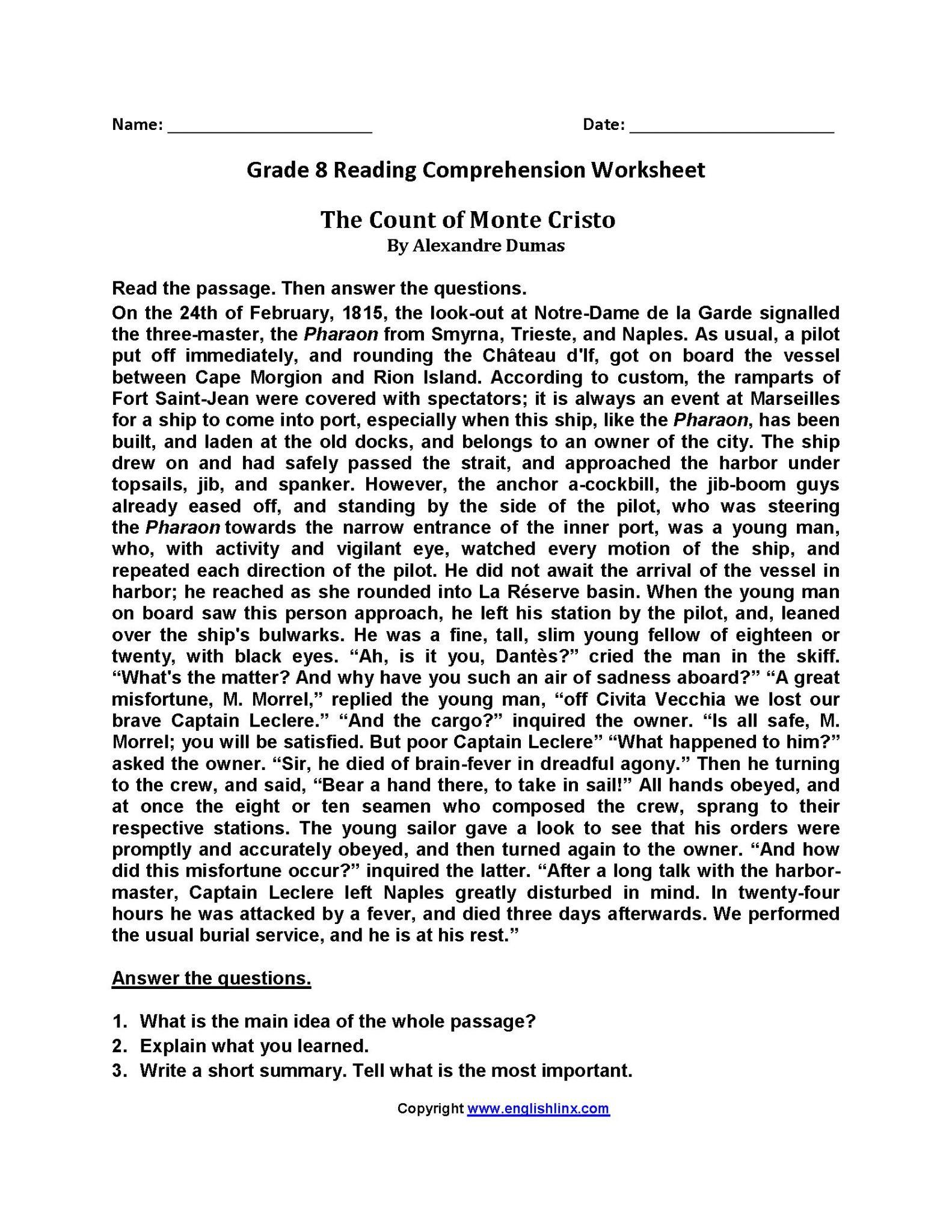 Reading Worksheets For Grade 2