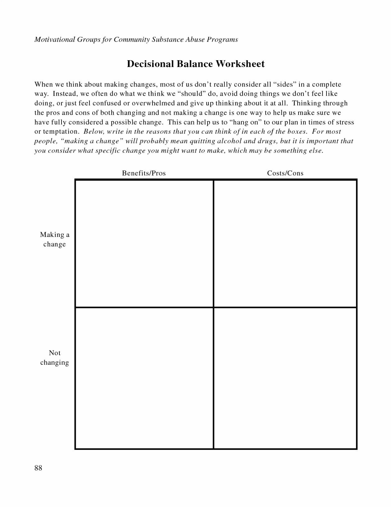 Relapse Prevention Worksheets