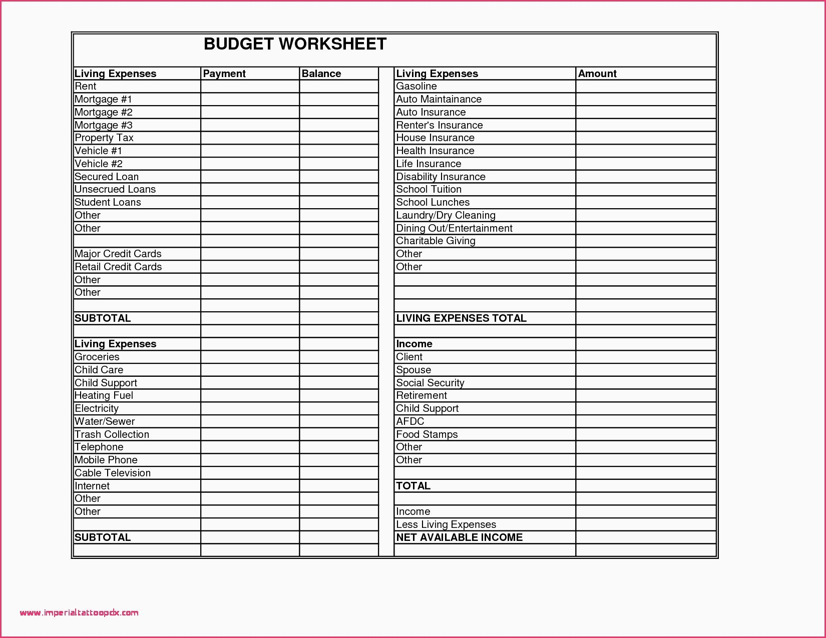 Retirement Expense Worksheet