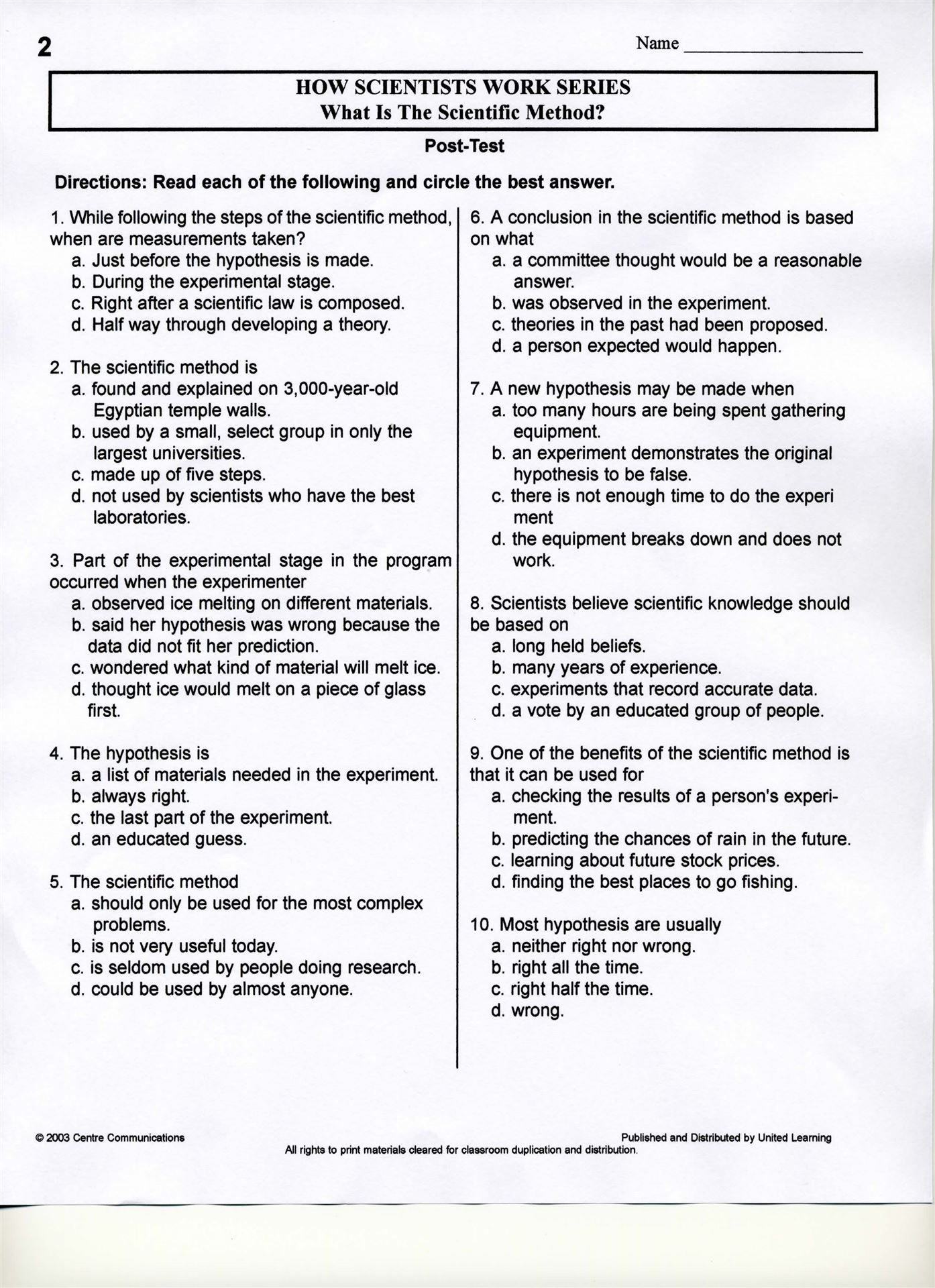 Scientific Inquiry Worksheet
