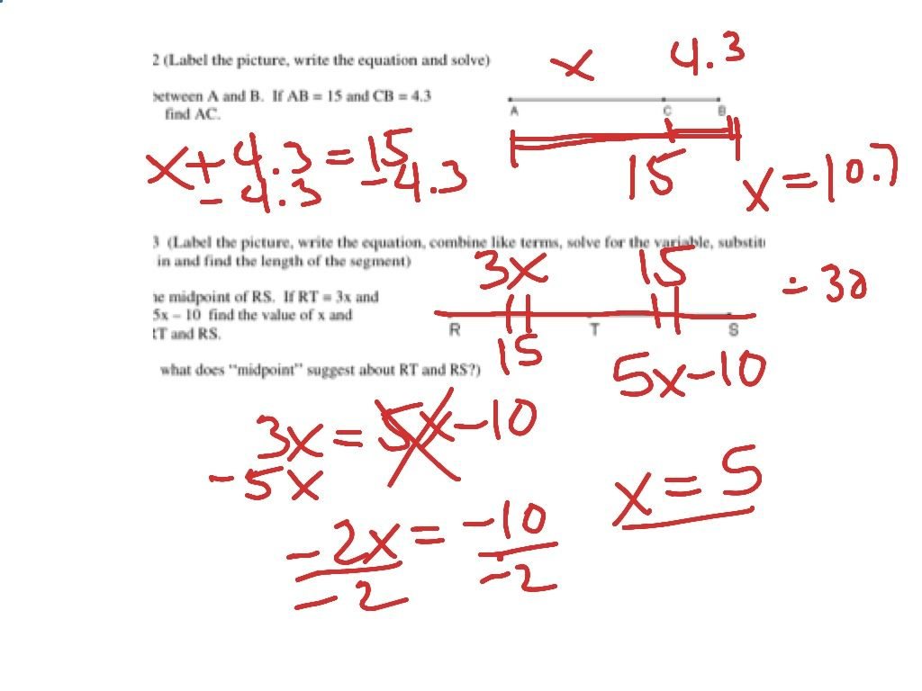Segment Addition Postulate Worksheet Answer Key