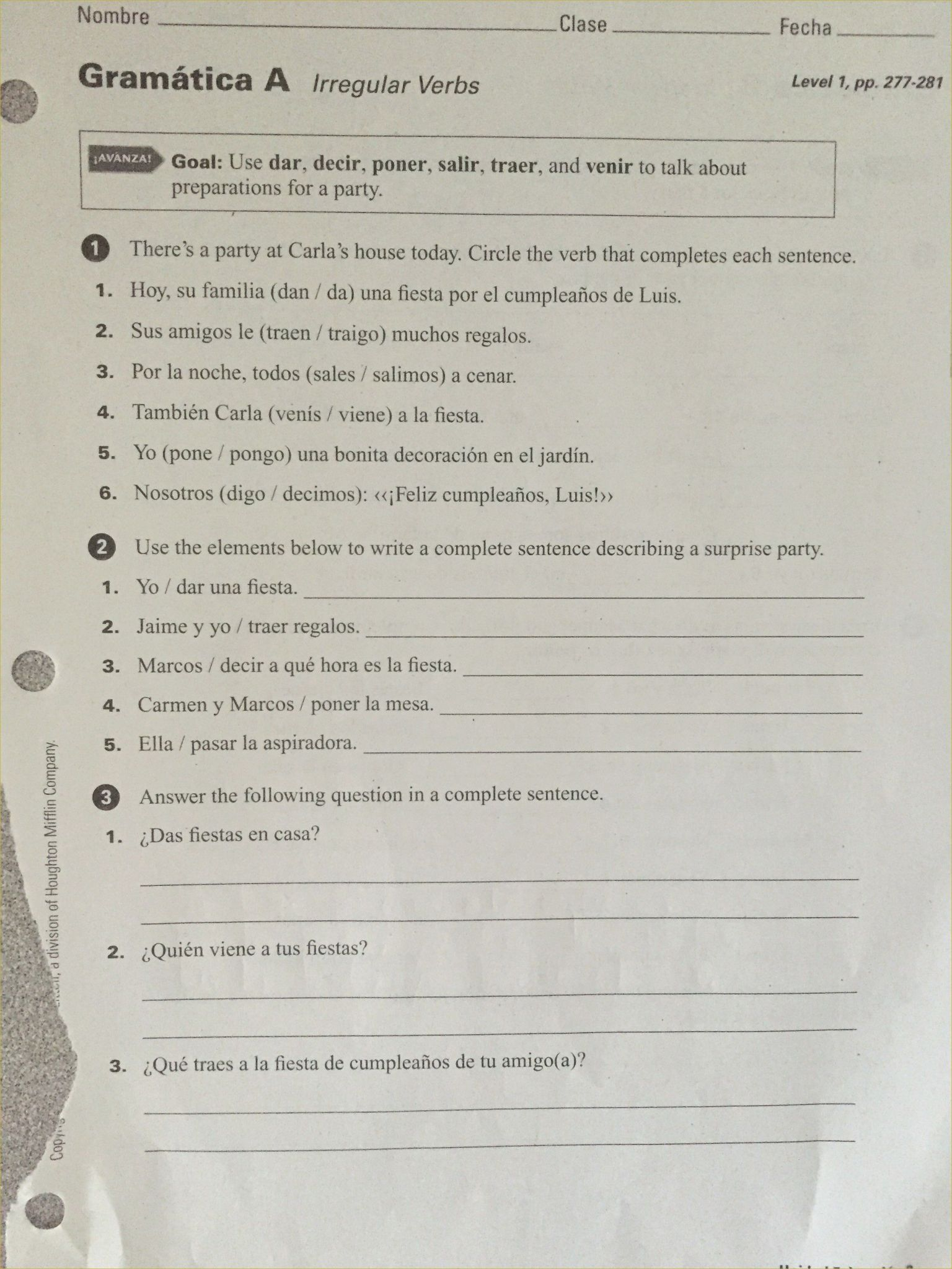 Ser Estar Worksheet