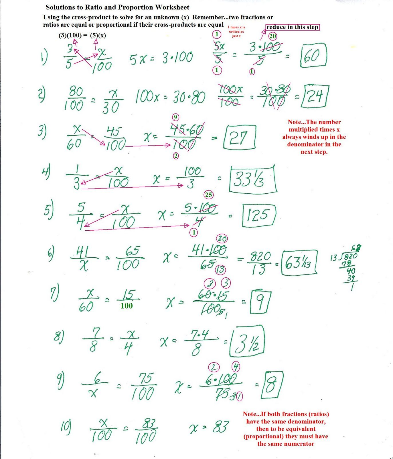 Similar Figures Worksheet Answer Key