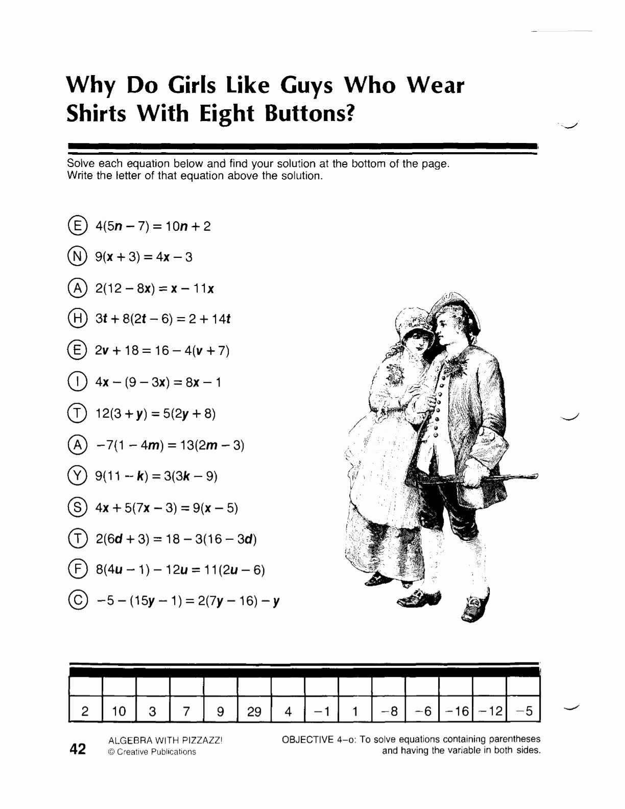 Simple Linear Equations Worksheet