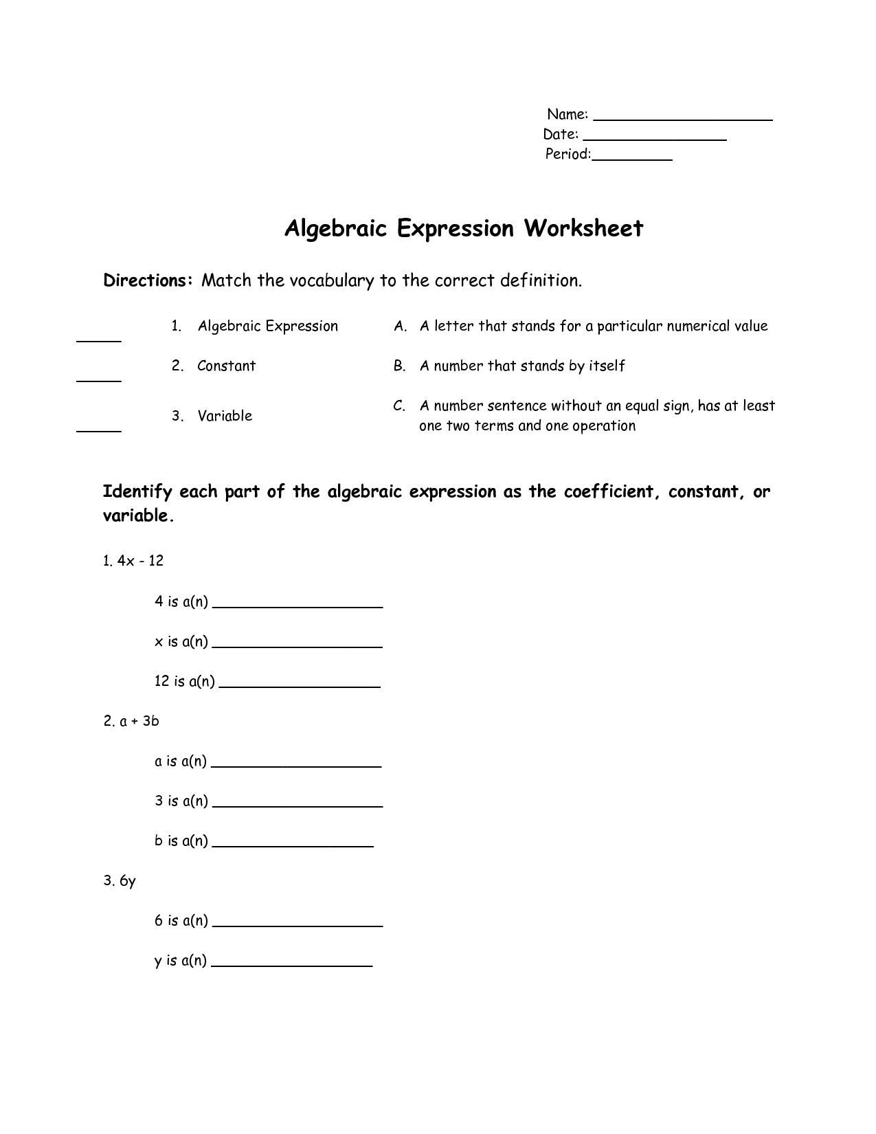 Simplifying Algebraic Expressions Worksheet Answers