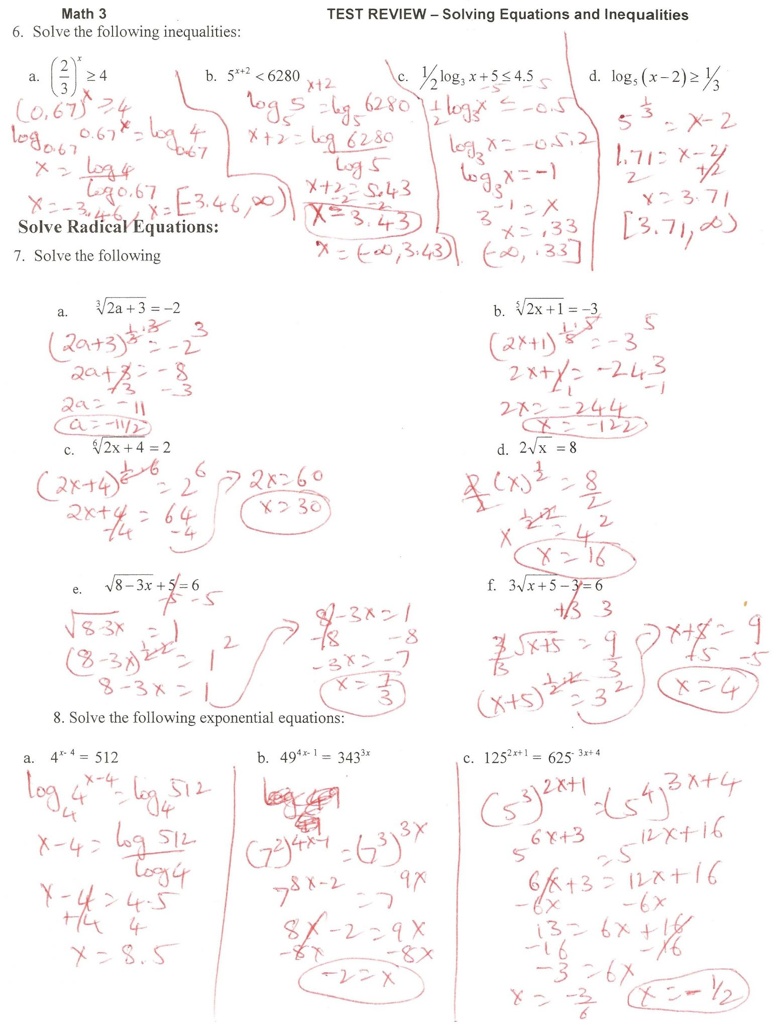 Solving Exponential Equations Worksheet With Answers