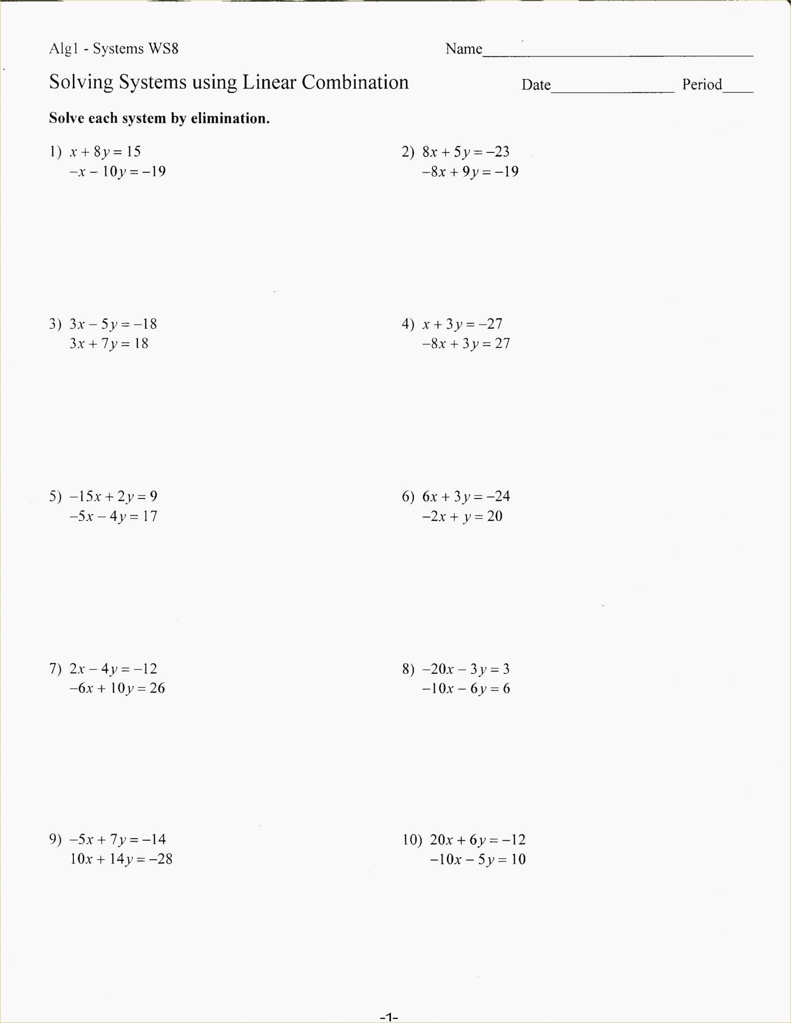 Worksheet Solving Systems Of Equations By Graphing Answers