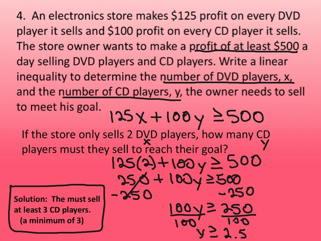 System Of Inequalities Word Problems Worksheet