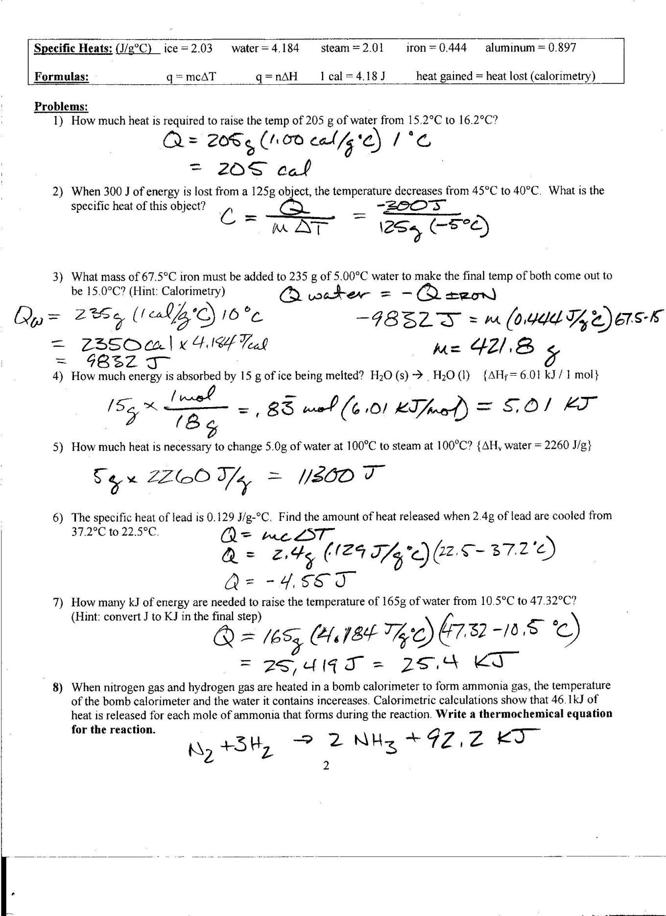 Specific Heat Problems Worksheet Answers