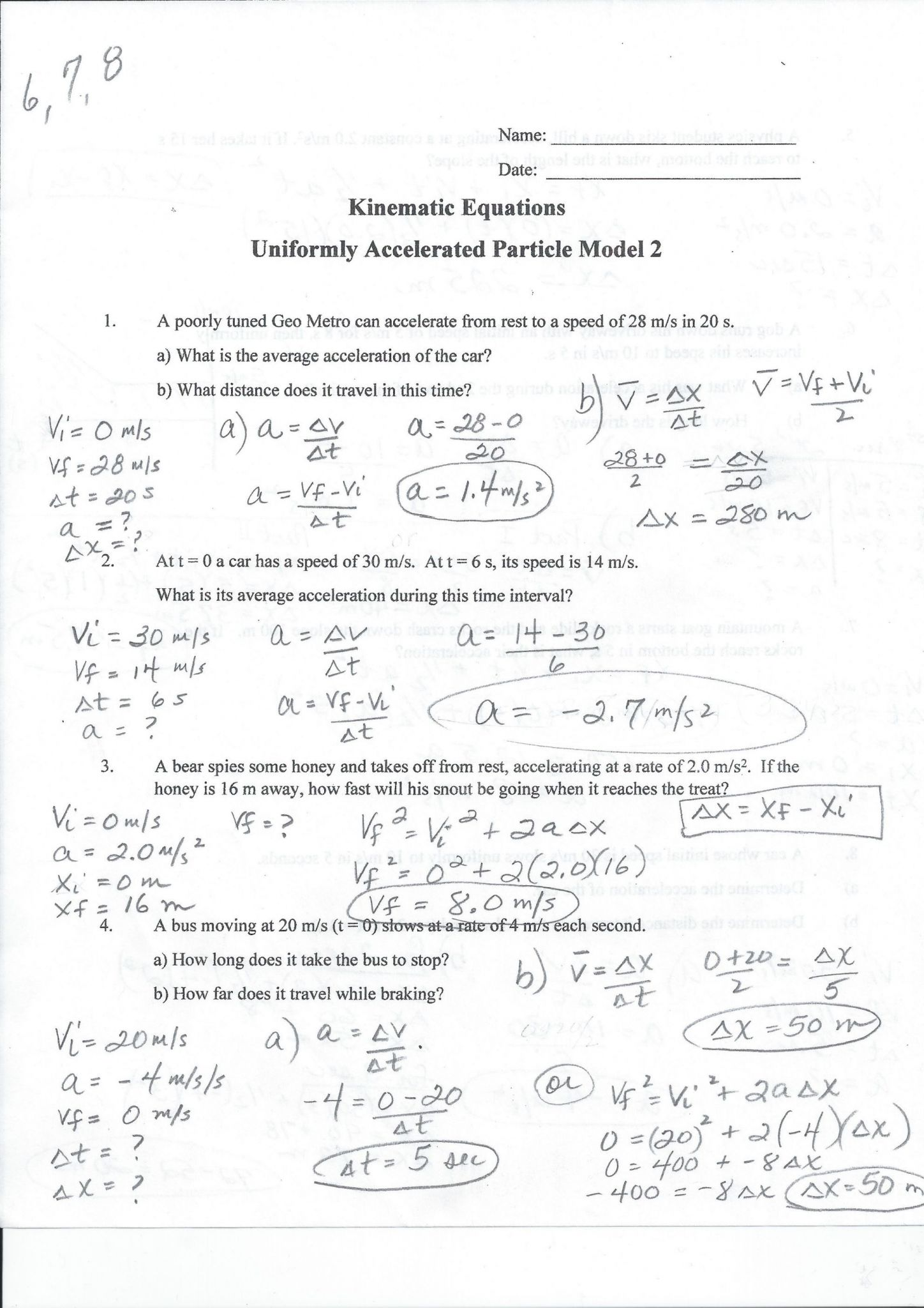 29 Speed Velocity And Acceleration Worksheet Answers