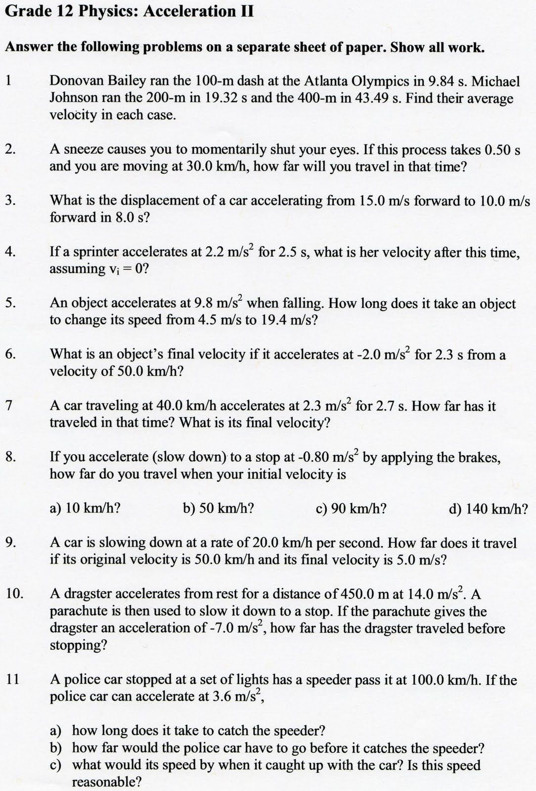Speed Velocity And Acceleration Worksheet Answer Key