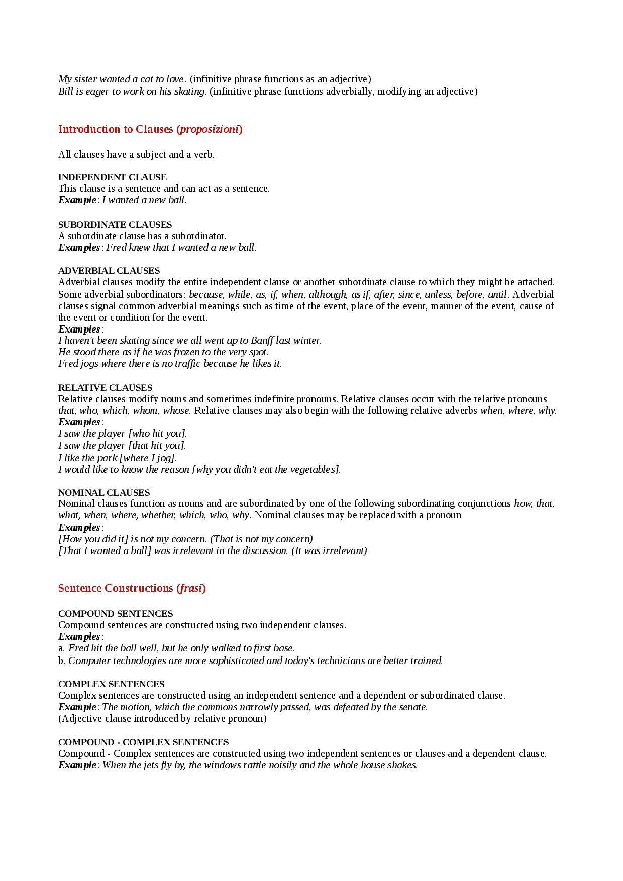 Subordinate Clause Worksheet
