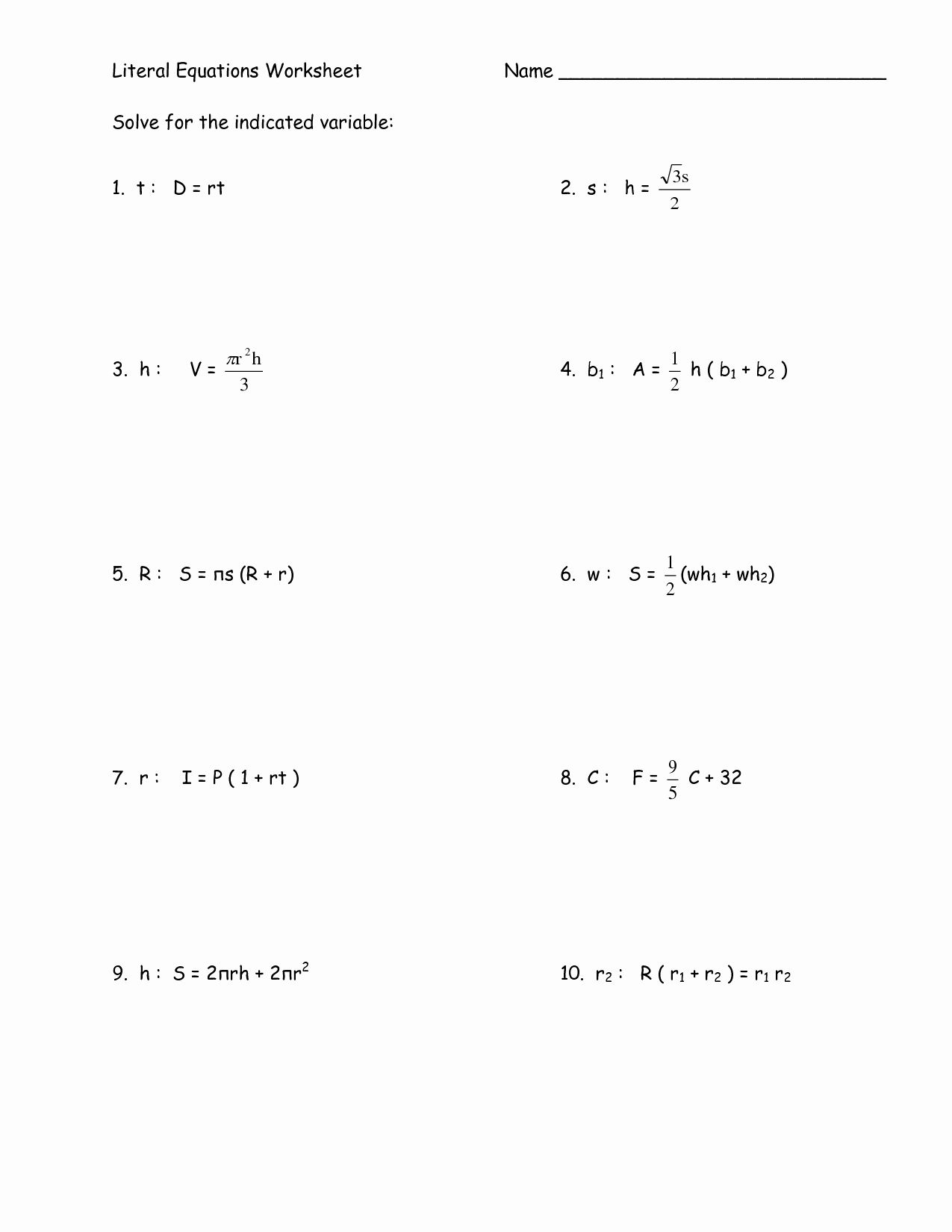 System Of Linear Equations Worksheet