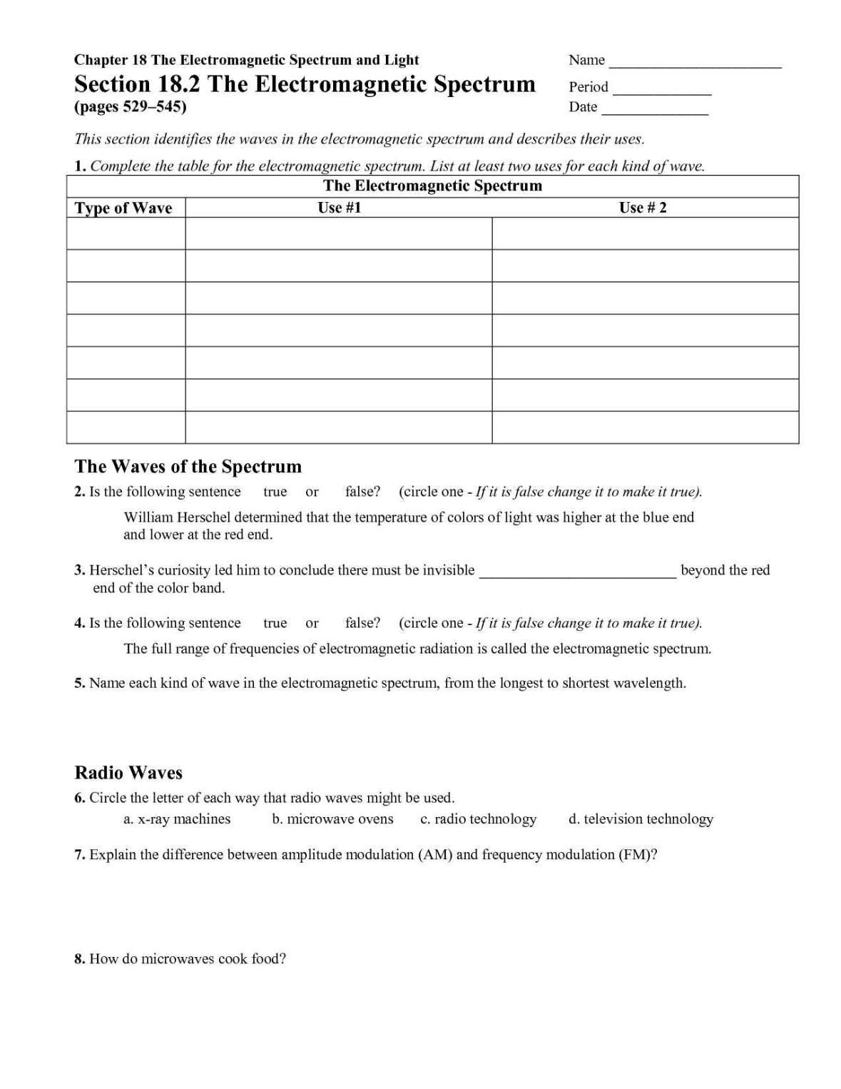 The Electromagnetic Spectrum Worksheet Answers