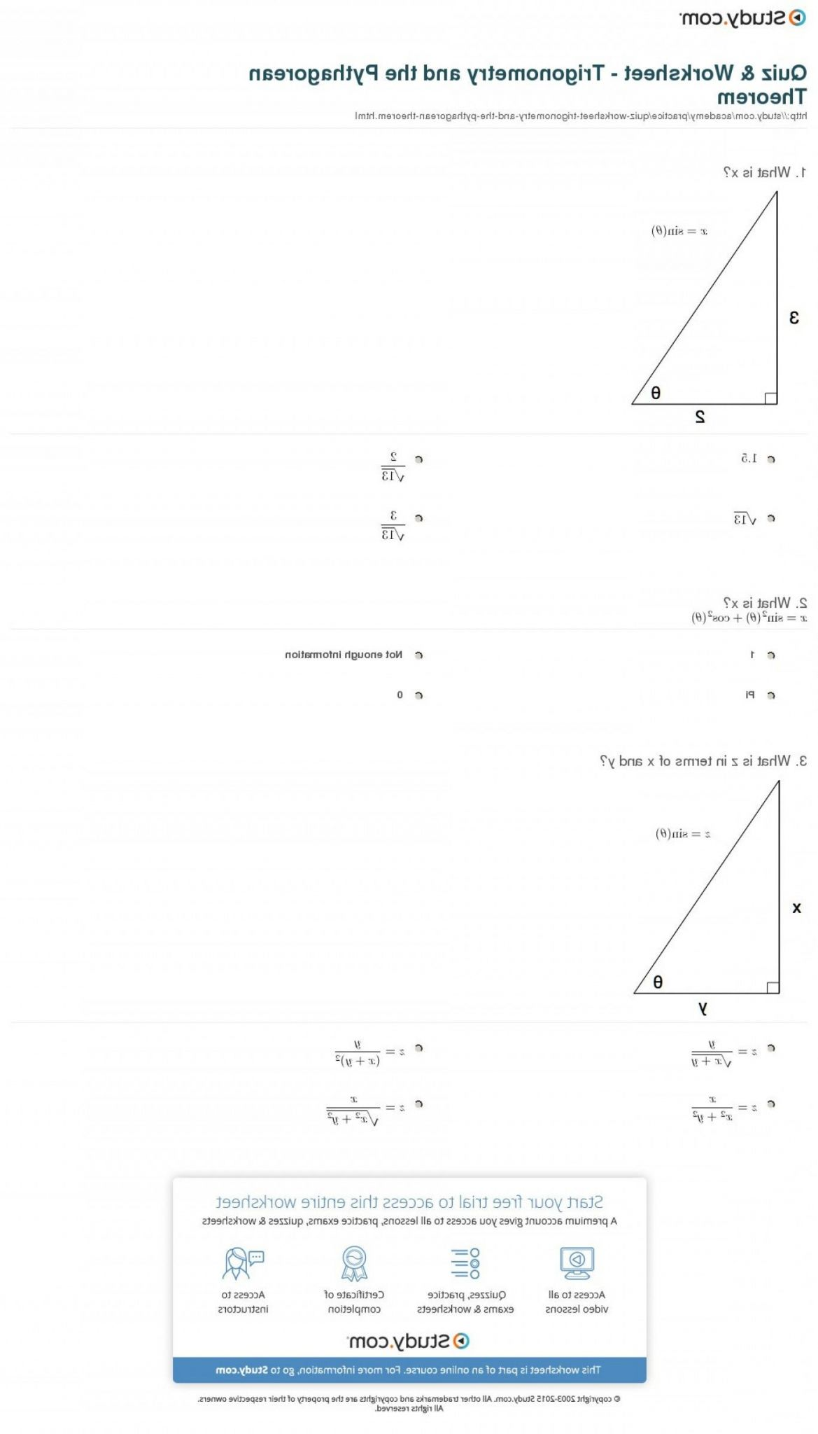 The Pythagorean Theorem Worksheet Answers