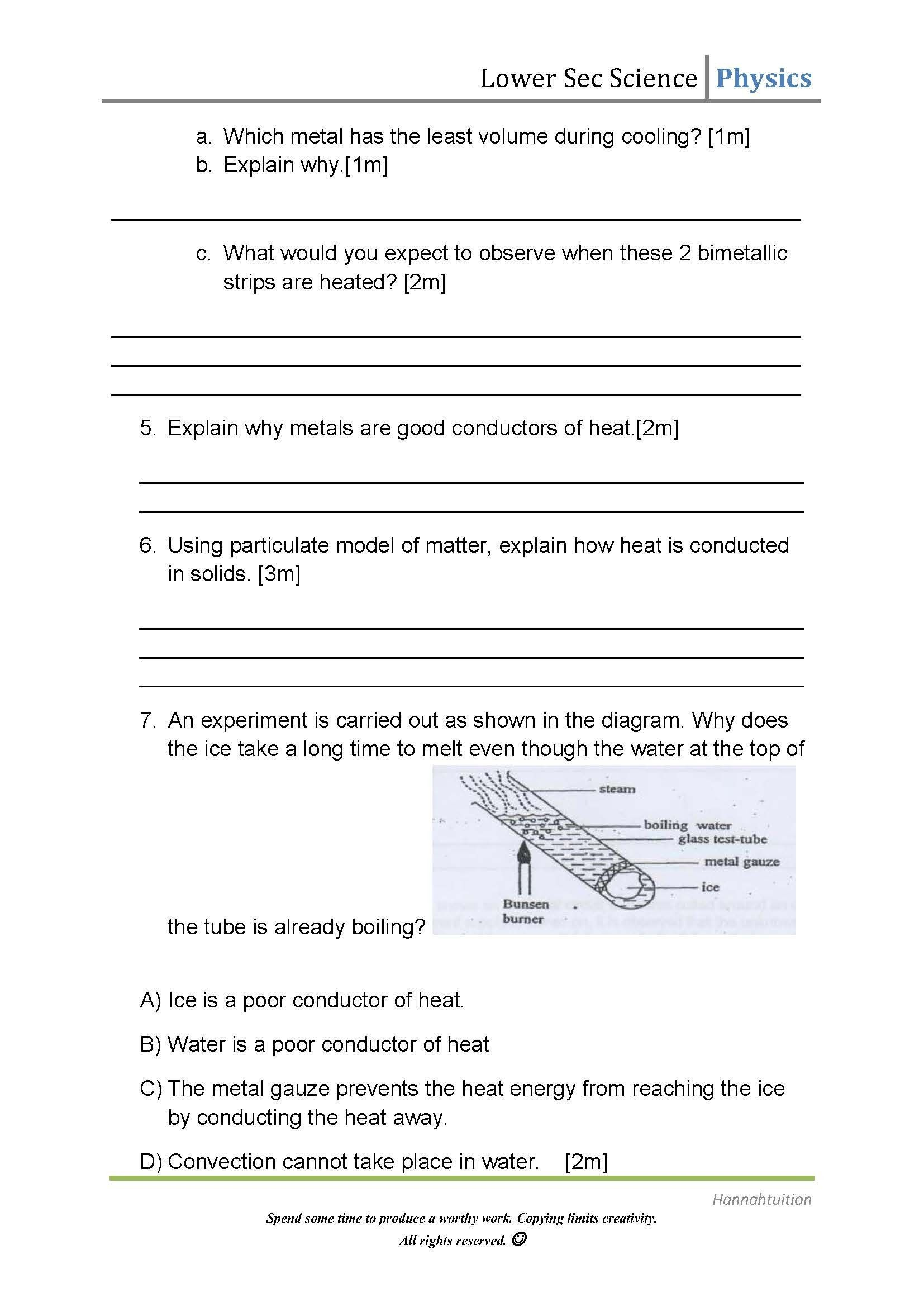 Thermal Energy Transfer Worksheet