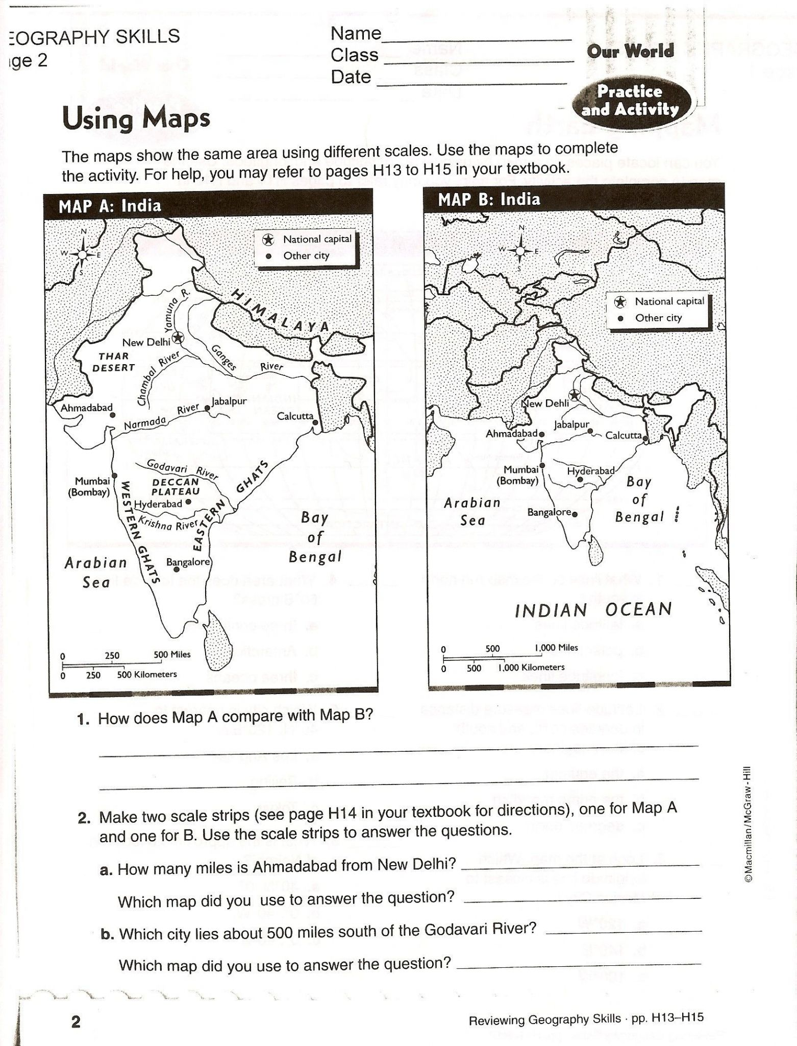 Map With Map Key Worksheet