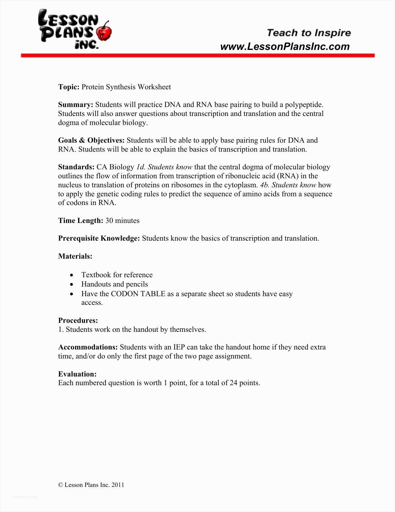 Transcription And Translation Worksheet Answer Key Biology