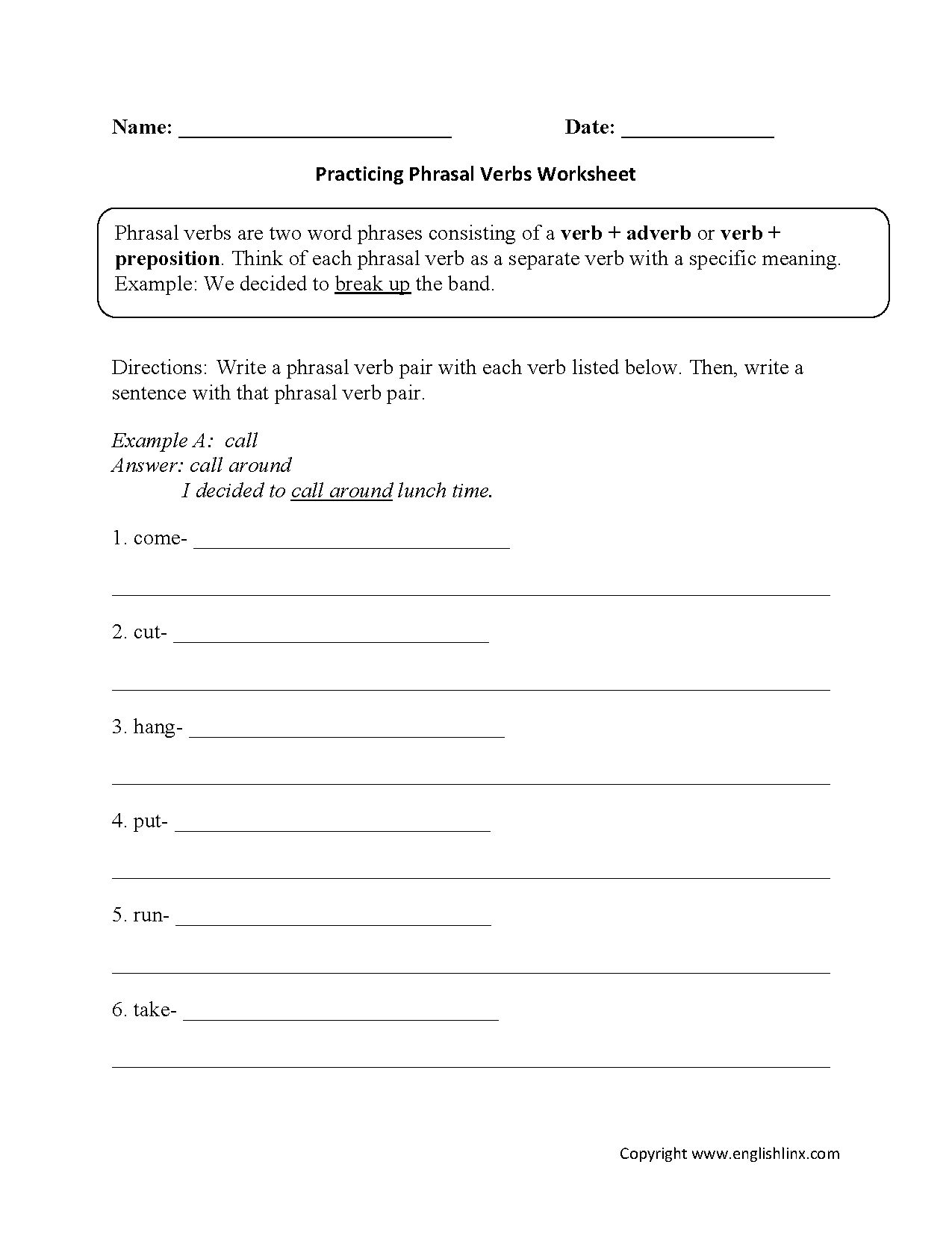 Transitive Verb Worksheet
