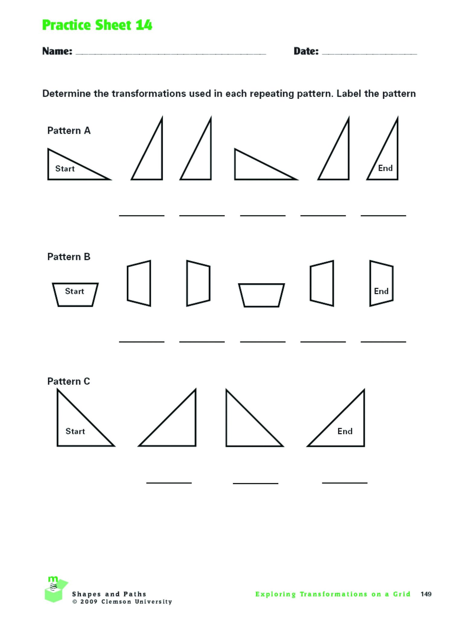 Reflections Worksheet Answers