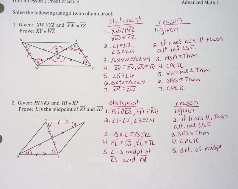 Proofs Worksheet With Answers