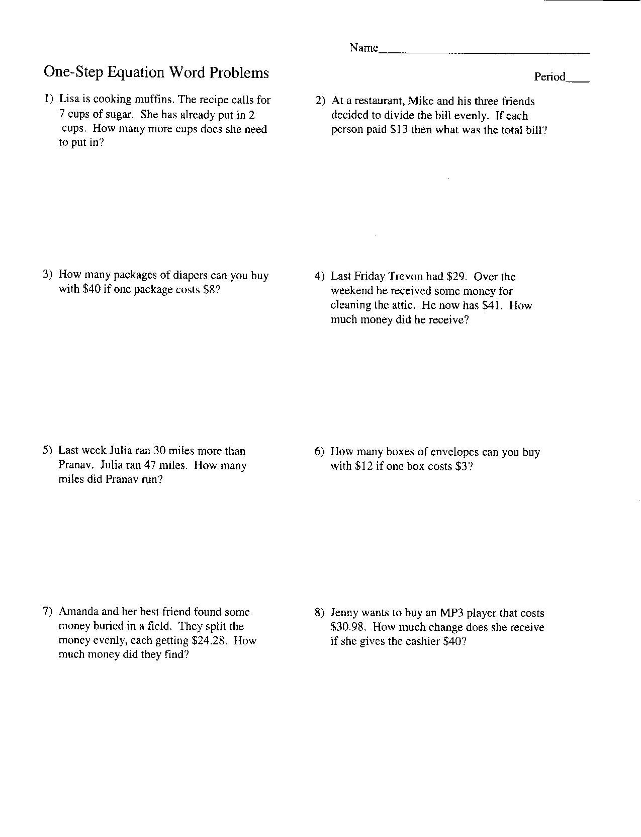 Pre Algebra Worksheet Solving Two Step Equations