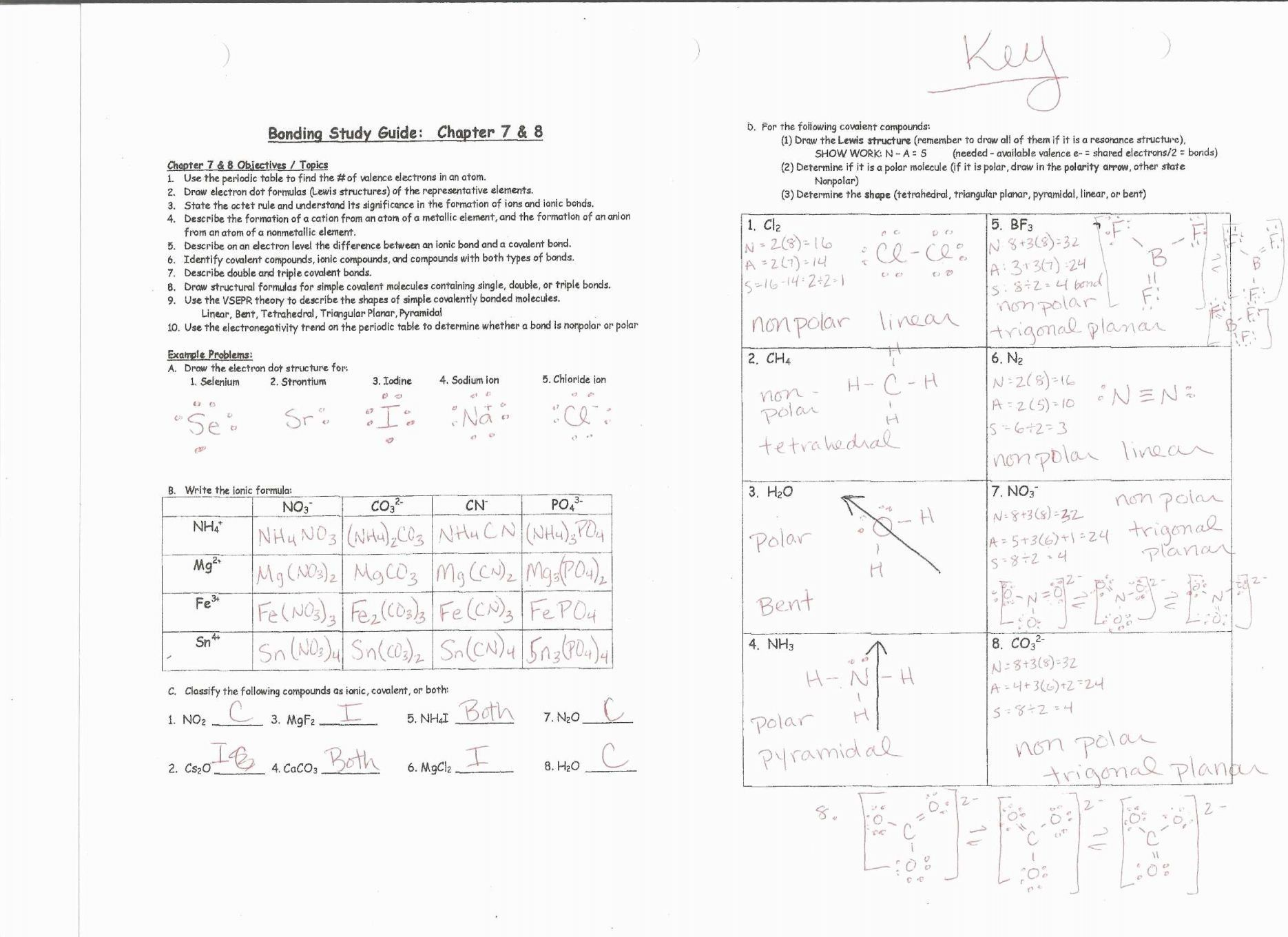 Types Of Chemical Reaction Worksheet Ch 7 Answers