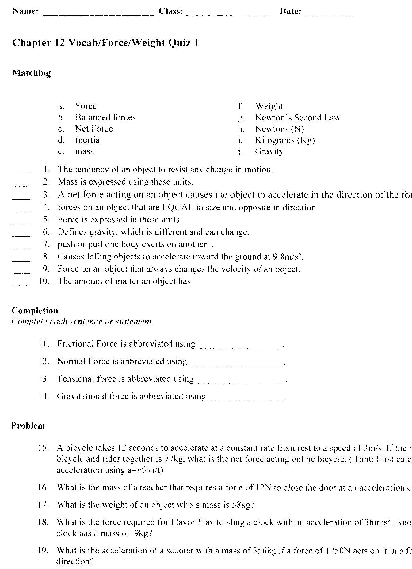28 Physics Classroom Worksheet Answers
