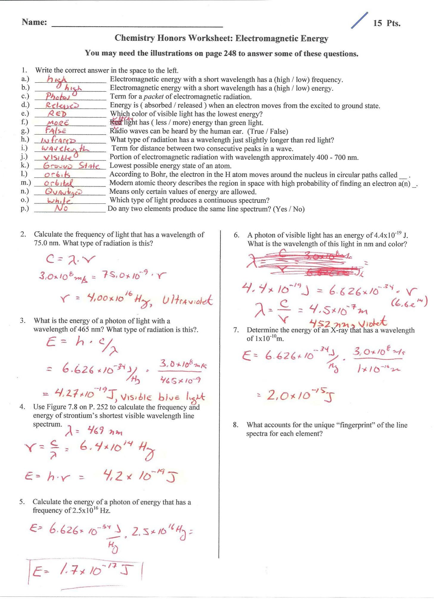 Waves Sound And Light Worksheet Answer Key