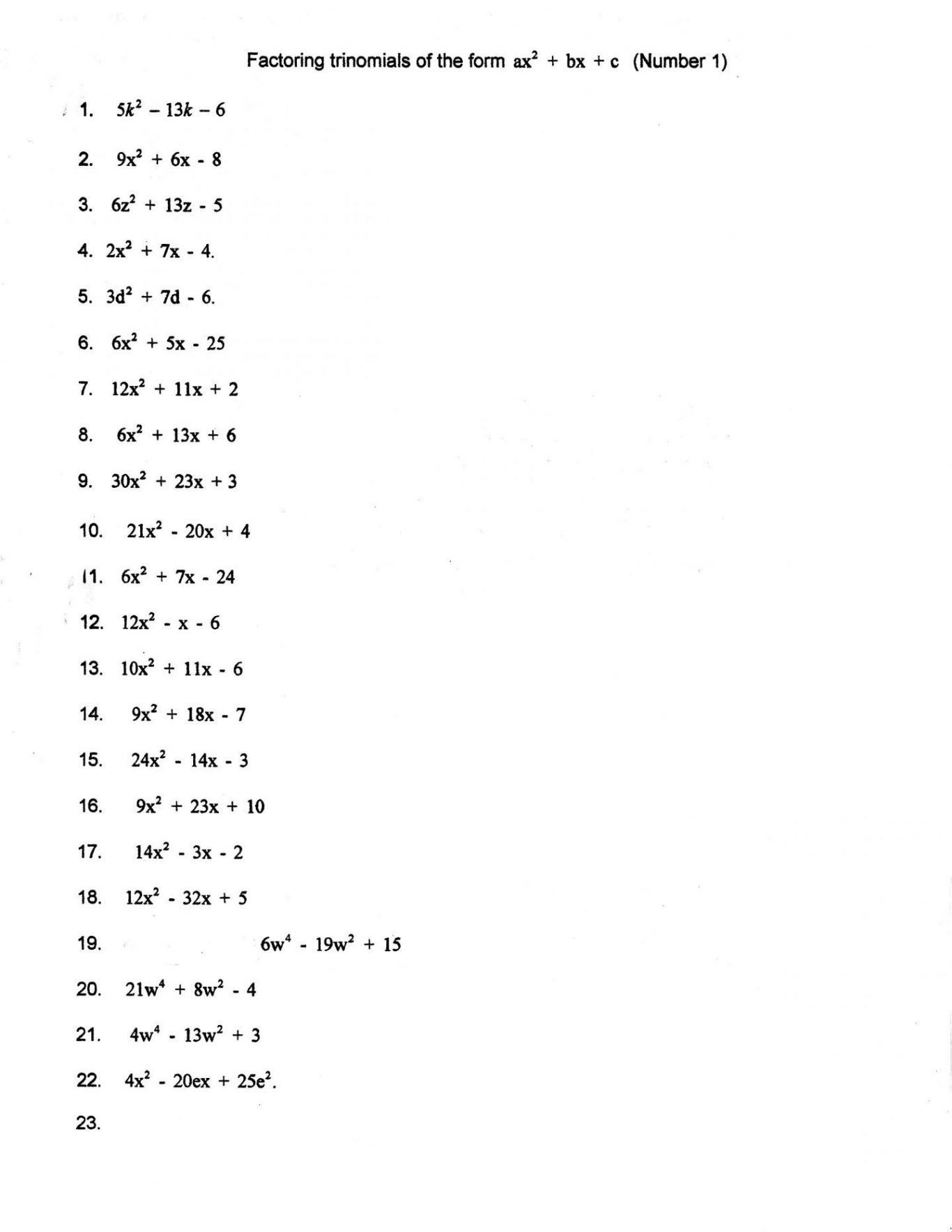 Worksheet Factoring Trinomials Answers Key