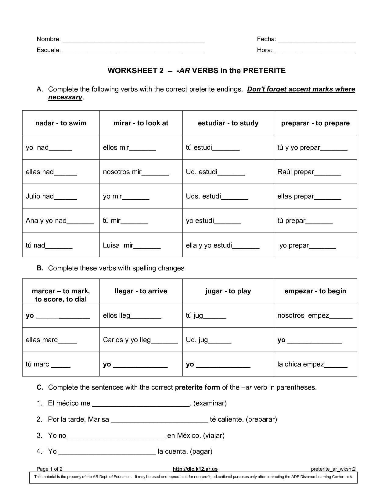 Worksheet Preterite Tense Answers