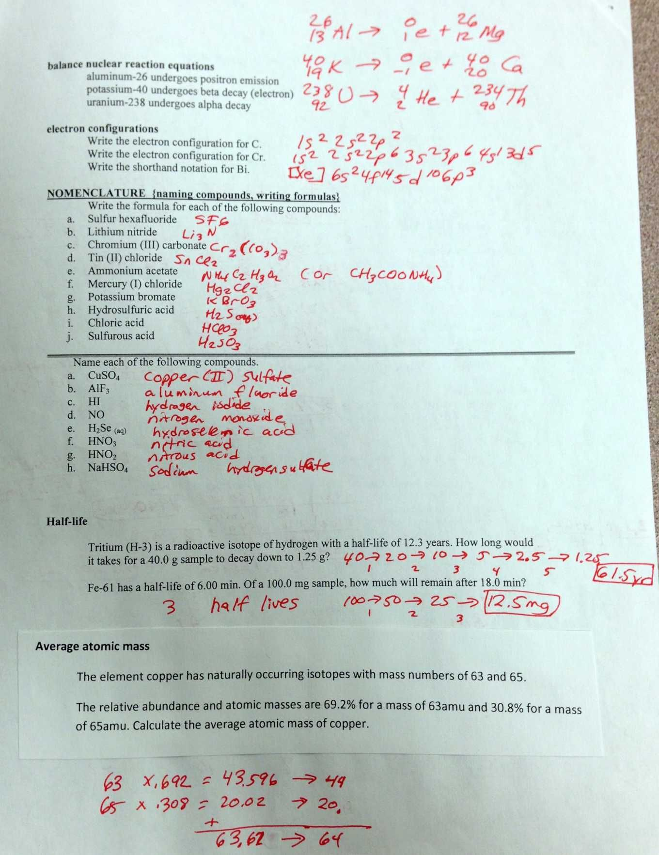 Electron Orbital Configuration Worksheet Answers