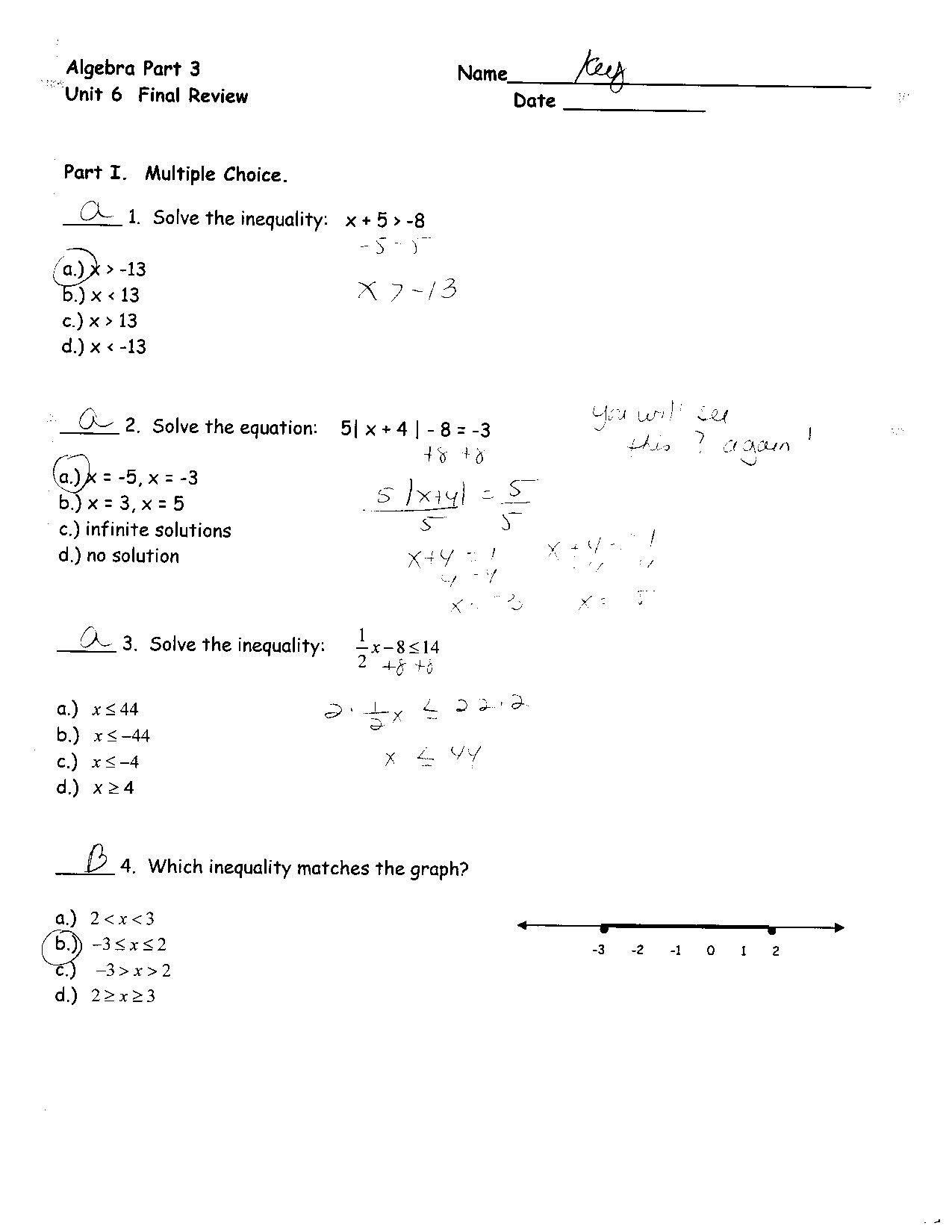 Algebra Worksheet For Year 8