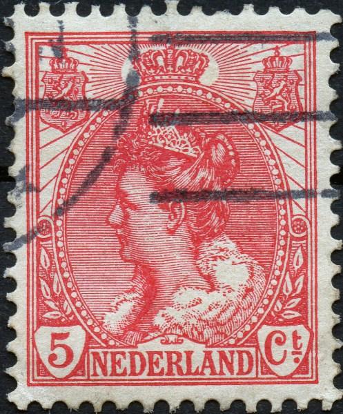 Scan: Briefmarke Niederlande - 1899 - Königin Wilhelmina mit Pelzkragen - 5ct.