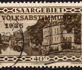 Scan: gebrauchte Briefmarke (Mi#184) aus dem Saargebiet von 1935, Aufdruck 'Volksabstimmung 1935' auf Urmarke 'Kaserne Saarlouis', Nennwert war 40c.