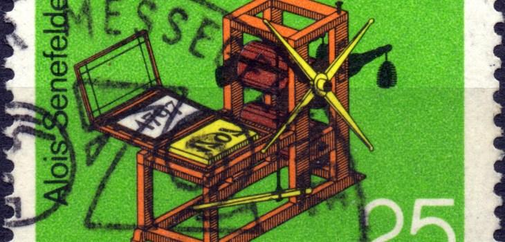 Scan:Briefmarke aus Deutschland, Deutsche Bundespost, mehrfarbig und von 1972, mit dem Thema '175 Jahre Flachdruckverfahren'. Der Nennwert war 25 Pf, Sonderstempel Messe Hannover.